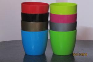 Plastic pot round Multi color 14*12.5 CM (8pots)