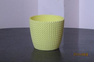 Plastic pot round Light Yellow 14*12.5 cm