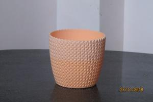 Plastic pot round Light Orange 14*12.5 cm