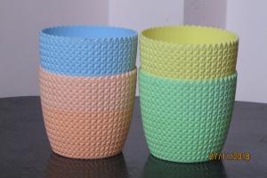 Plastic pot round Multi Color 14*12.5 cm (4 Pots)