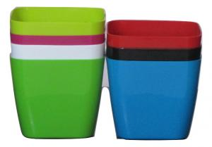 Plastic pot Square Multi color 14*14 CM (7pots)