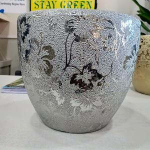 Silver Color Ceramic Pot