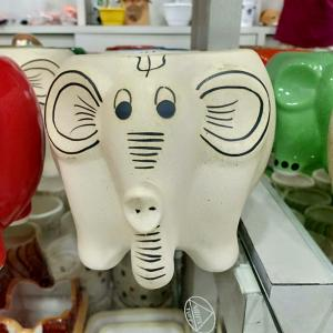 Elephant Ceramic Pot White