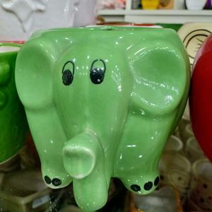 Elephant Ceramic Pot Green