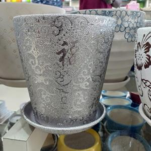 Silver Ceramic Pot (Long)