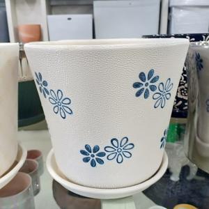 White & Blue Flowering Ceramic Pot