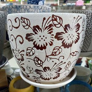 White & Brown Flowering Ceramic Pot