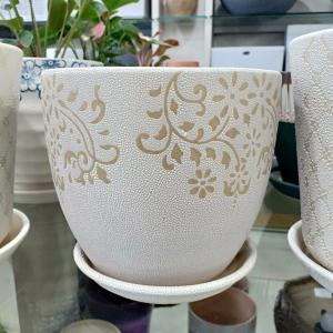 White Round Shaped Ceramic Pot
