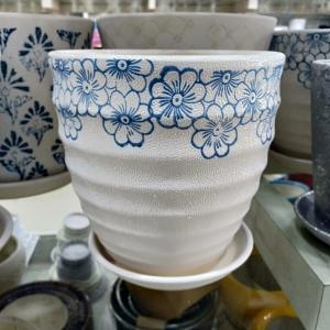 White & Blue Flowering Striped Ceramic Pot
