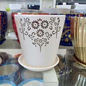 White & Brown Flower Design Pot (Long)