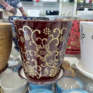Brown Flower Design Ceramic Pot