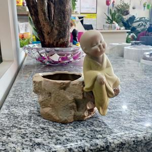 Yellow Designer Buddha Ceramic Pot